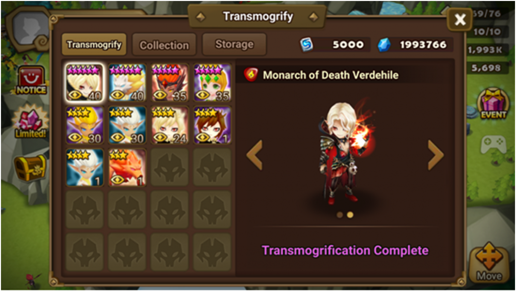 summoners war transmogrification
